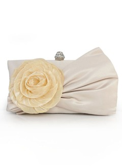 Elegant Silk With Flower/Ruffles Clutches/Wristlets/Cross-Body Bags/Shoulder Bags