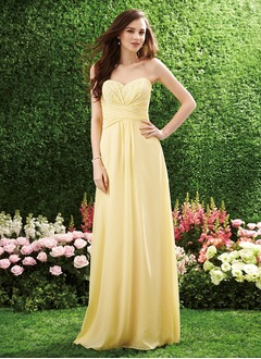 A-Line/Princess Strapless Sweetheart Floor-Length Chiffon Bridesmaid Dress With Ruffle Lace