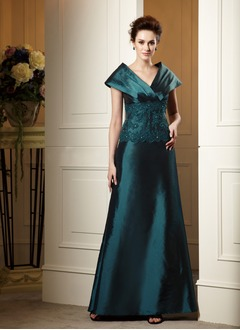 A-Line/Princess V-neck Floor-Length Taffeta Lace Mother of the Bride Dress With Ruffle Lace Beading