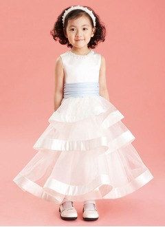 A-Line/Princess Scoop Neck Ankle-Length Organza Satin Flower Girl Dress With Sash Beading