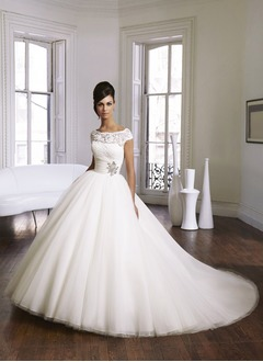 Ball-Gown Scoop Neck Cathedral Train Satin Tulle Wedding Dress With Ruffle Beading