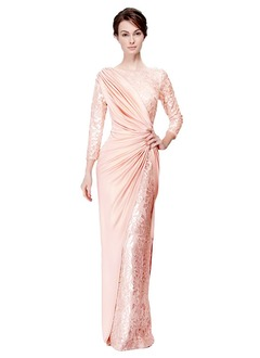 Sheath/Column Scoop Neck Floor-Length Charmeuse Lace Mother of the Bride Dress With Ruffle