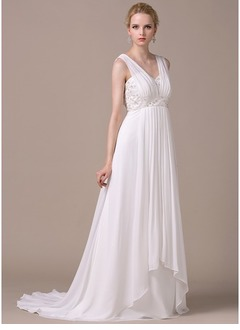 Empire V-neck Sweep Train Chiffon Wedding Dress With Ruffle Beading Cascading Ruffles