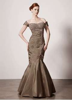 Trumpet/Mermaid Off-the-Shoulder Floor-Length Taffeta Mother of the Bride Dress With Ruffle Lace Beading