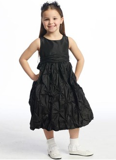 A-Line/Princess Scoop Neck Tea-Length Taffeta Flower Girl Dress With Ruffle