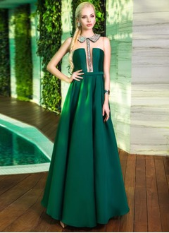 Ball-Gown Scoop Neck Floor-Length Satin Tulle Evening Dress With Ruffle Beading