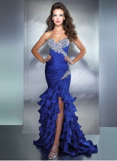 Trumpet/Mermaid Strapless Sweetheart Court Train Satin Chiffon Prom Dress With Ruffle Beading Split Front
