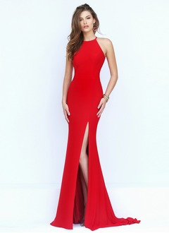 Sheath/Column Halter Sweep Train Jersey Evening Dress With Split Front