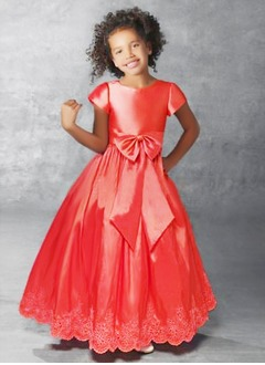 A-Line/Princess Scoop Neck Floor-Length Taffeta Flower Girl Dress With Beading