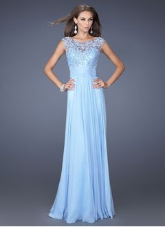A-Line/Princess Scoop Neck Floor-Length Chiffon Evening Dress With Lace Appliques Lace
