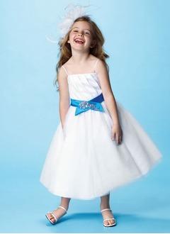 A-Line/Princess Strapless Ankle-Length Satin Tulle Flower Girl Dress With Ruffle Sash Beading