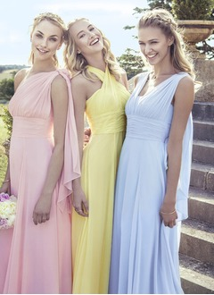 A-Line/Princess Floor-Length Chiffon Bridesmaid Dress With Ruffle