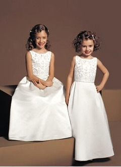 A-Line/Princess Scoop Neck Floor-Length Satin Flower Girl Dress With Beading
