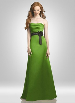 Sheath/Column Strapless Sweetheart Floor-Length Satin Bridesmaid Dress With Ruffle Sash Beading