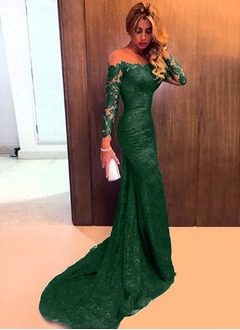 Trumpet/Mermaid Off-the-Shoulder Court Train Lace Evening Dress With Lace