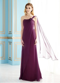 Empire One-Shoulder Floor-Length Chiffon Mother of the Bride Dress With Ruffle Flower(s) Sequins