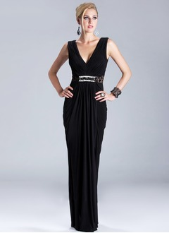 Sheath/Column V-neck Floor-Length Chiffon Lace Evening Dress With Ruffle Beading