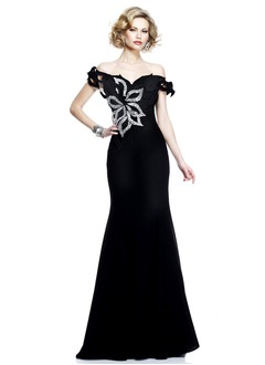 Trumpet/Mermaid Off-the-Shoulder Sweep Train Charmeuse Evening Dress With Beading