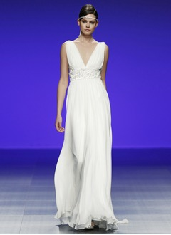 Empire V-neck Floor-Length Chiffon Wedding Dress With Ruffle Beading Flower(s)