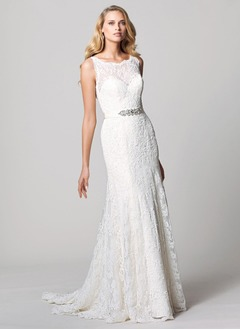 Trumpet/Mermaid Scoop Neck Sweep Train Satin Lace Wedding Dress With Beading