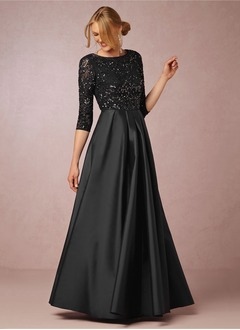 A-Line/Princess Scoop Neck Floor-Length Satin Mother of the Bride Dress With Lace Beading