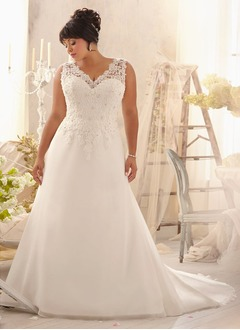 A-Line/Princess V-neck Court Train Organza Wedding Dress With Ruffle Lace Beading