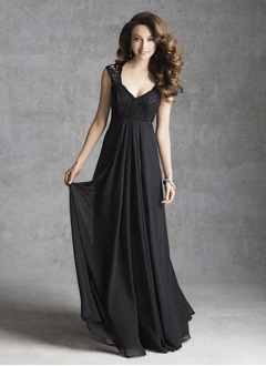 Empire V-neck Floor-Length Chiffon Bridesmaid Dress With Ruffle Lace
