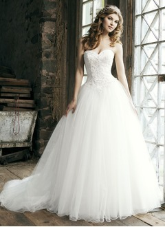 Ball-Gown Sweetheart Chapel Train Satin Tulle Wedding Dress With Lace Beading Sequins