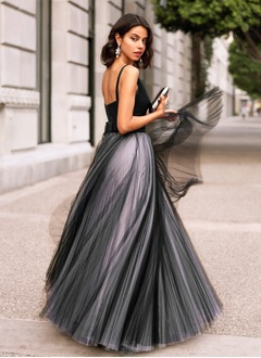 A-Line/Princess V-neck Floor-Length Satin Tulle Evening Dress