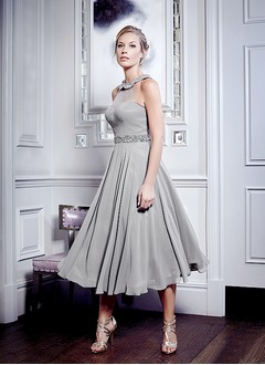 A-Line/Princess Halter Tea-Length 30D Chiffon Mother of the Bride Dress With Beading