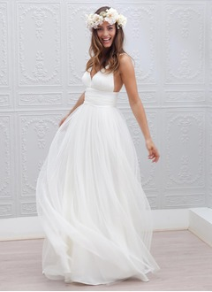 A-Line/Princess V-neck Sweep Train Chiffon Tulle Wedding Dress With Ruffle