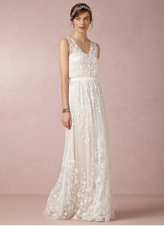 A-Line/Princess V-neck Floor-Length Chiffon Lace Wedding Dress (0025055882)