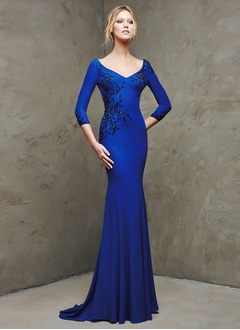 Trumpet/Mermaid V-neck Sweep Train Jersey Evening Dress With Beading Appliques Lace