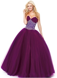 Ball-Gown Strapless Sweetheart Floor-Length Satin Tulle Sequined Prom Dress With Ruffle Lace Beading
