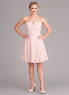 A-Line/Princess Strapless Knee-Length Chiffon Bridesmaid Dress With Lace
