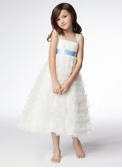 A-Line/Princess Strapless Ankle-Length Satin Tulle Flower Girl Dress With Ruffle Sash