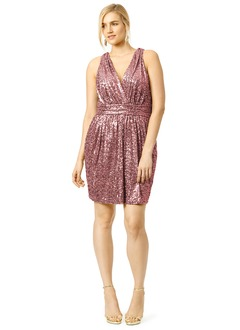 Sheath/Column V-neck Short/Mini Sequined Evening Dress With Ruffle