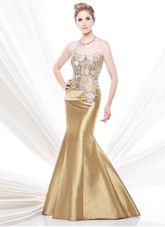 Trumpet/Mermaid Strapless Sweep Train Taffeta Mother of the Bride Dress With Ruffle Beading Appliques Lace Sequins