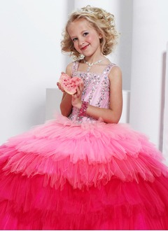 A-Line/Princess Square Neckline Floor-Length Tulle Flower Girl Dress With Beading