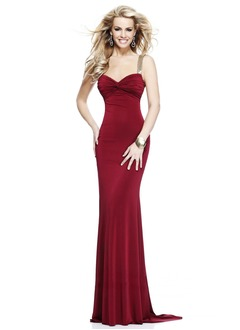 Trumpet/Mermaid Sweetheart Sweep Train Jersey Evening Dress With Ruffle Beading