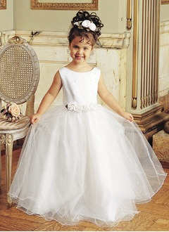 A-Line/Princess Scoop Neck Floor-Length Organza Flower Girl Dress With Flower(s)