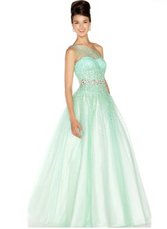 Ball-Gown One-Shoulder Floor-Length Tulle Charmeuse Quinceanera Dress With Beading
