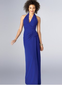 Sheath/Column Halter Floor-Length Chiffon Mother of the Bride Dress With Ruffle