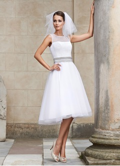 A-Line/Princess Scoop Neck Knee-Length Tulle Wedding Dress With Sash