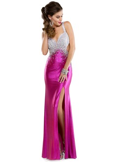 Trumpet/Mermaid Sweetheart Floor-Length Charmeuse Prom Dress With Beading Sequins Split Front