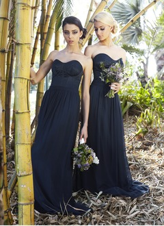 A-Line/Princess Strapless Sweetheart Floor-Length Chiffon Satin Bridesmaid Dress With Ruffle
