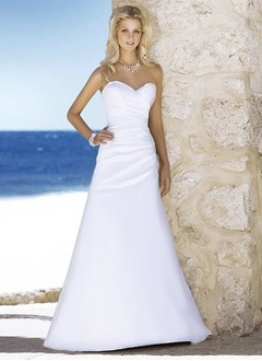 A-Line/Princess Sweetheart Court Train Satin Wedding Dress With Ruffle Beading