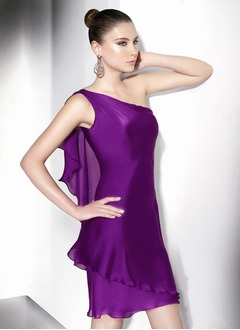 Sheath/Column One-Shoulder Short/Mini Satin Chiffon Cocktail Dress