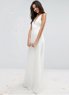 A-Line/Princess V-neck Sweep Train Charmeuse Wedding Dress With Ruffle