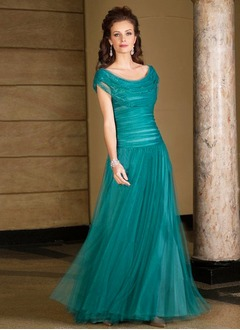 A-Line/Princess Cowl Neck Floor-Length Tulle Charmeuse Mother of the Bride Dress With Ruffle Beading